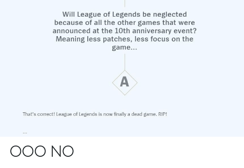 League of Legends, The Game, and Focus: Will League of Legends be neglected  because of all the other games that were  announced at the 10th anniversary event?  Meaning less patches, less focus on the  game...  A  That's correct! League of Legends is now finally a dead game. RIP! OOO NO