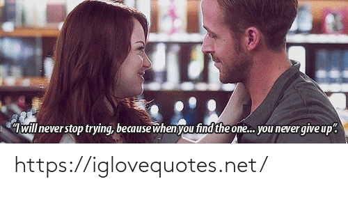 """Never Stop: will never stop trying, because when you find the one. you never give up"""". https://iglovequotes.net/"""