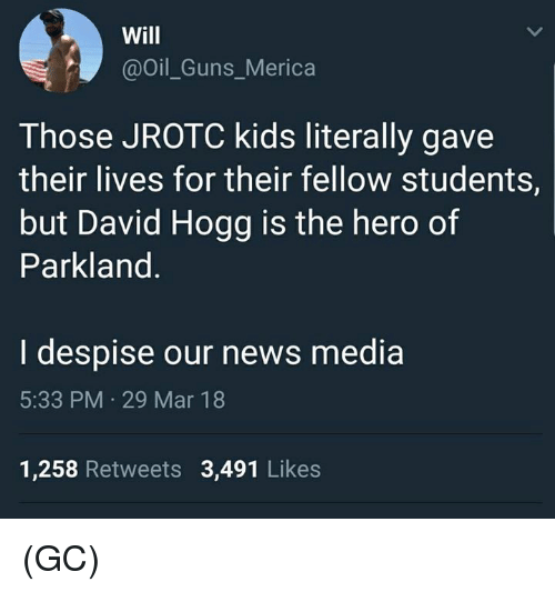 Despise: Will  @Oil_Guns_Merica  Those JROTC kids literally gave  their lives for their fellow students,  but David Hogg is the hero of  Parkland  I despise our news media  5:33 PM 29 Mar 18  1,258 Retweets 3,491 Likes (GC)
