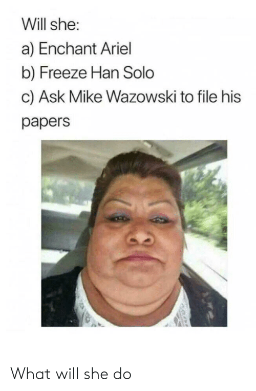 Papers: Will she:  a) Enchant Ariel  b) Freeze Han Solo  c) Ask Mike Wazowski to file his  papers What will she do