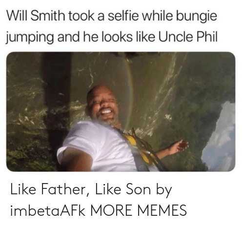 selfie: Will Smith took a selfie while bungie  jumping and he looks like Uncle Phil Like Father, Like Son by imbetaAFk MORE MEMES