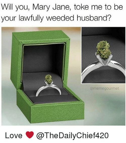 Husband Meme: Will you, Mary Jane, toke me to be  your lawfully weeded husband?  @meme gourmet Love ❤️ @TheDailyChief420