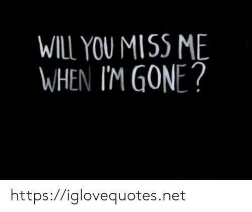 Net, Gone, and Will: WILL YOU MISS ME  WHEN I'M GONE? https://iglovequotes.net