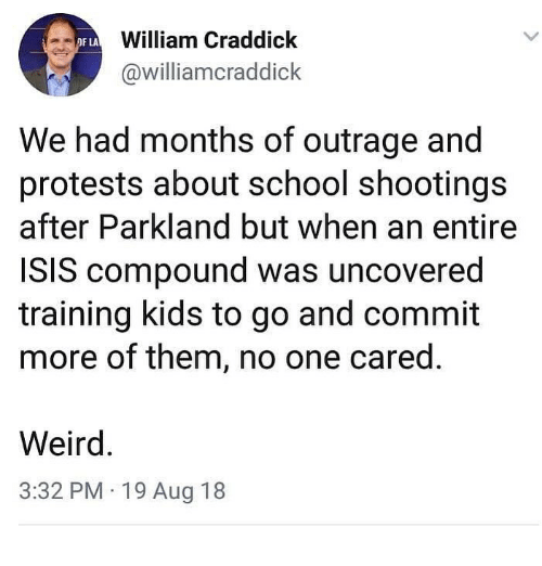 Outrage: William Craddick  @williamcraddick  OF LA  We had months of outrage and  protests about school shootings  after Parkland but when an entire  ISIS compound was uncovered  training kids to go and commit  more of them, no one cared.  Weird  3:32 PM 19 Aug 18