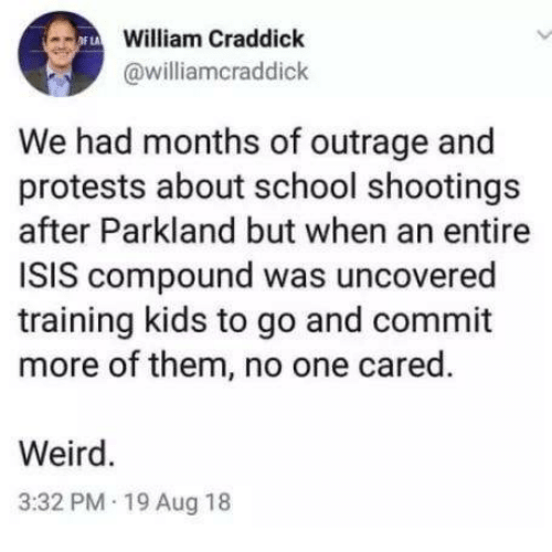 Outrage: William Craddick  @williamcraddick  We had months of outrage and  protests about school shootings  after Parkland but when an entire  ISIS compound was uncovered  training kids to go and commit  more of them, no one cared.  Weird.  3:32 PM 19 Aug 18