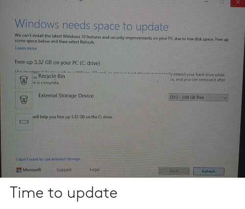 Windows Needs Space to Update We Can't Install the Latest