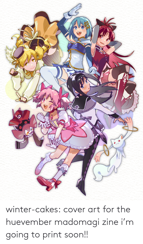 Going: winter-cakes:  cover art for the huevember madomagi zine i'm going to print soon!!