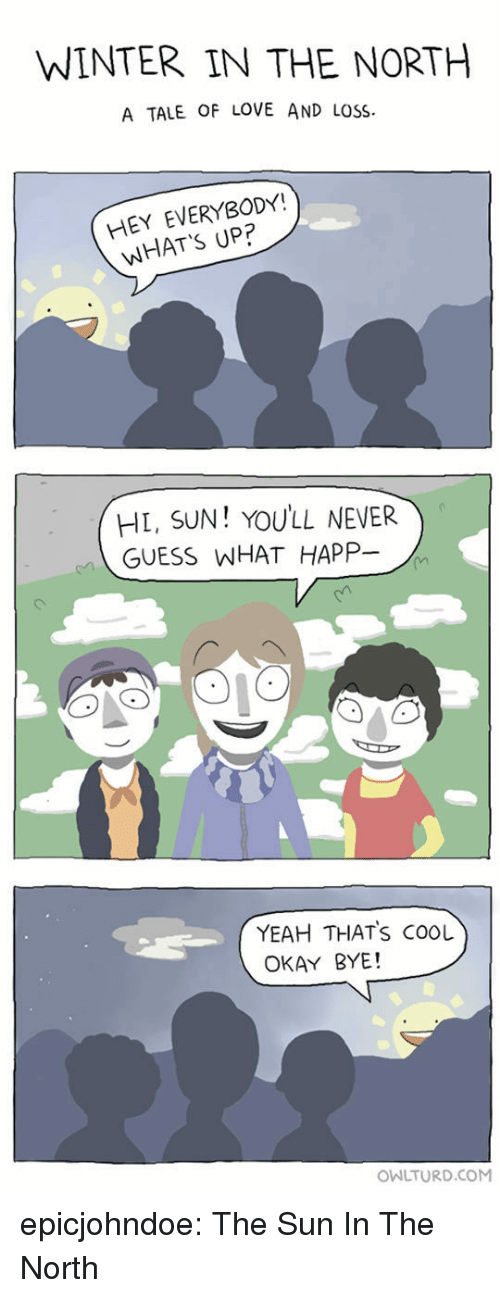Happ: WINTER IN THE NORTH  A TALE OF LOVE AND LOSS  HEY EVERYBODY!  WHAT'S UP?  HL, SUN! YOULL NEVER  GUESS WHAT HAPP-  YEAH THATS COOL  OKAY BYE!  OWLTURD.COM epicjohndoe:  The Sun In The North