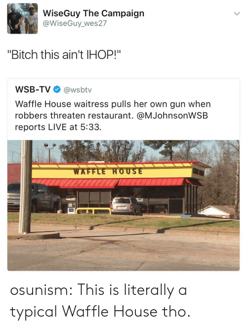 """Bitch, Ihop, and Tumblr: WiseGuy The Campaign  @WiseGuy_wes27  """"Bitch this ain't IHOP!""""  WSB-TV@wsbtv  Waffle House waitress pulls her own gun when  robbers threaten restaurant. @MJohnsonWSB  reports LIVE at 5:33. osunism: This is literally a typical Waffle House tho."""