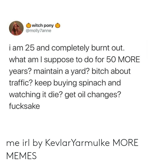 changes: witch pony  @molly7anne  i am 25 and completely burnt out  what am I suppose to do for 50 MORE  years? maintain a yard? bitch about  traffic? keep buying spinach and  watching it die? get oil changes?  fucksake me irl by KevlarYarmulke MORE MEMES