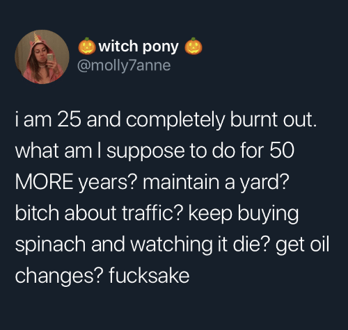 changes: witch pony  @molly7anne  iam 25 and completely burnt out.  what am I suppose to do for 50  MORE years? maintain a yard?  bitch about traffic? keep buying  spinach and watching it die? get oil  changes? fucksake
