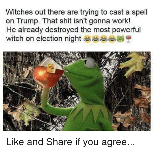 Casted: Witches out there are trying to cast a spell  on Trump. That shit isn't gonna work!  He already destroyed the most powerful  witch on election night Like and Share if you agree...