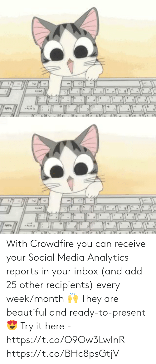 Inbox: With Crowdfire you can receive your Social Media Analytics reports in your inbox (and add 25 other recipients) every week/month 🙌  They are beautiful and ready-to-present 😍  Try it here - https://t.co/O9Ow3LwInR https://t.co/BHc8psGtjV