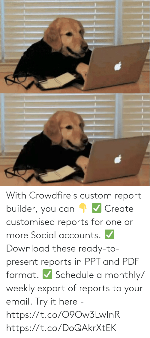 Email: With Crowdfire's custom report builder, you can 👇 ✅ Create customised reports for one or more Social accounts. ✅ Download these ready-to-present reports in PPT and PDF format. ✅ Schedule a monthly/ weekly export of reports to your email.  Try it here - https://t.co/O9Ow3LwInR https://t.co/DoQAkrXtEK