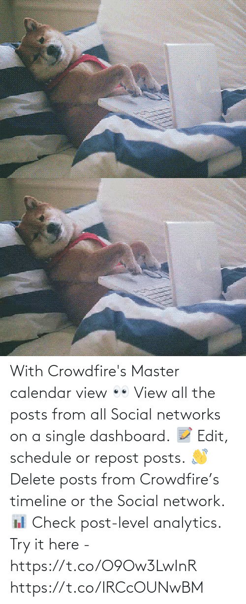 Schedule: With Crowdfire's Master calendar view 👀 View all the posts from all Social networks on a single dashboard. 📝 Edit, schedule or repost posts. 👋 Delete posts from Crowdfire's timeline or the Social network. 📊 Check post-level analytics.  Try it here - https://t.co/O9Ow3LwInR https://t.co/IRCcOUNwBM