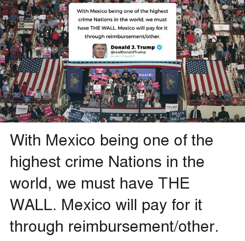 Criming: With Mexico being one of the highest  crime Nations in the world, we must  have THE WALL. Mexico will pay for it  through reimbursement/other  20c  Donald J. Trump 2  realDonaldTrump  44AM-27 Ag 2017  AGAIN!  WOMEN  DRAIN  o.  SWAMP With Mexico being one of the highest crime Nations in the world, we must have THE WALL. Mexico will pay for it through reimbursement/other.