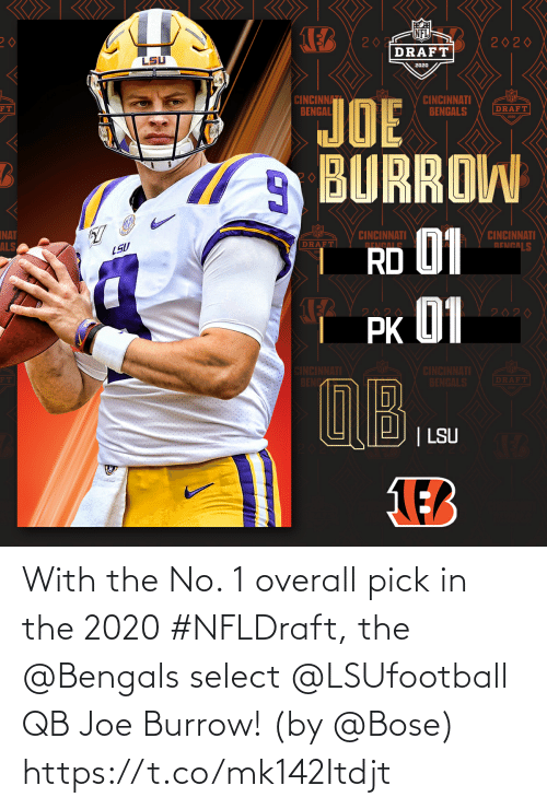 joe: With the No. 1 overall pick in the 2020 #NFLDraft, the @Bengals select @LSUfootball QB Joe Burrow! (by @Bose) https://t.co/mk142Itdjt