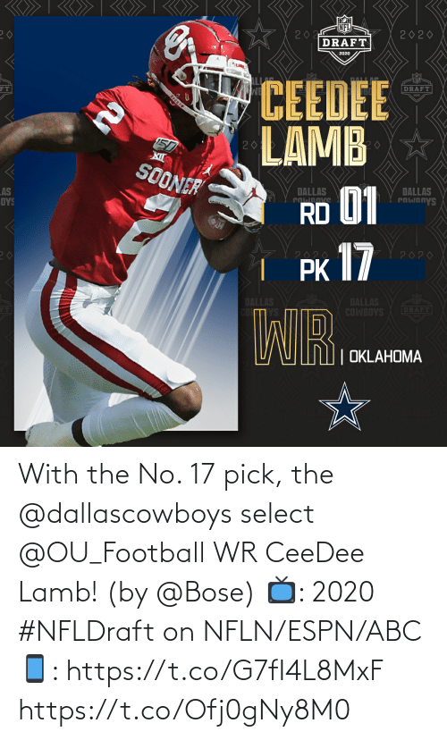 ABC: With the No. 17 pick, the @dallascowboys select @OU_Football WR CeeDee Lamb!  (by @Bose)  📺: 2020 #NFLDraft on NFLN/ESPN/ABC 📱: https://t.co/G7fI4L8MxF https://t.co/Ofj0gNy8M0