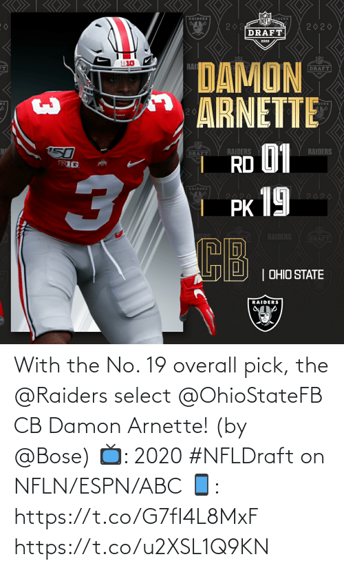 ABC: With the No. 19 overall pick, the @Raiders select @OhioStateFB CB Damon Arnette! (by @Bose)  📺: 2020 #NFLDraft on NFLN/ESPN/ABC 📱: https://t.co/G7fI4L8MxF https://t.co/u2XSL1Q9KN