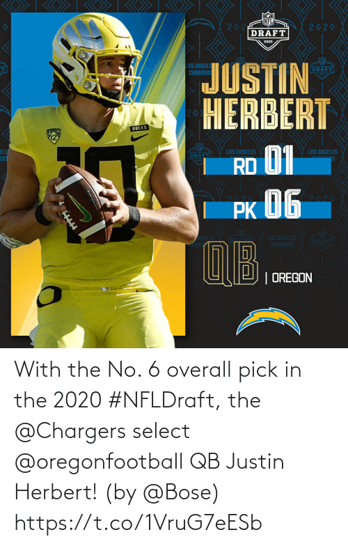 Chargers: With the No. 6 overall pick in the 2020 #NFLDraft, the @Chargers select @oregonfootball QB Justin Herbert!   (by @Bose) https://t.co/1VruG7eESb