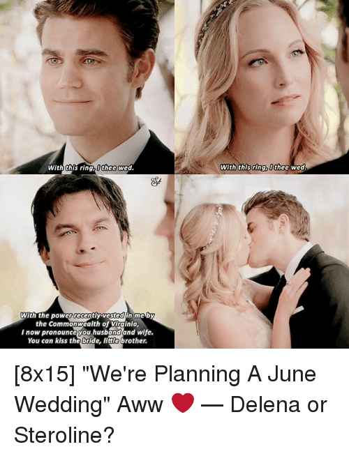 """commonwealth: With this ring,0 thee wed.  With the power recently vested in me by  the Commonwealth of Virginia,  I now pronounce you husband and wife.  You can kiss the bride, little brother.  with this ring, thee wed. [8x15] """"We're Planning A June Wedding"""" Aww ❤️ — Delena or Steroline?"""
