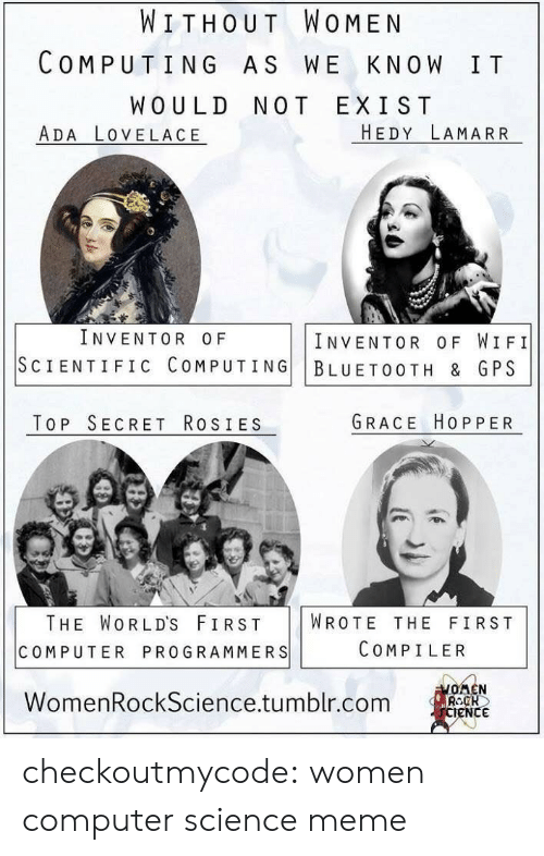 Science Meme: WITHOUT WOMEN  COMPUTING AS WE KNOW IT  WOULD NOT EXIST  ADA LOVELACE  HEDY LAMARR  INVENTOR OF  INVENTOR OF WIFI  SCIENTIFIC COMPUTING BLUETOOTH & GPS  TOP SECRET RosIES  GRACE HOPPER  THE WORLD'S FIRST WROTE THE FIRST  COMPUTER PROGRAMMERS  COMPILER  WomenRockScience.tumblr.com  eNC checkoutmycode:  women computer science meme