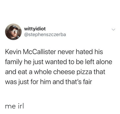 fair: wittyidiot  @stephenszczerba  Kevin McCallister never hated his  family he just wanted to be left alone  and eat a whole cheese pizza that  was just for him and that's fair me irl