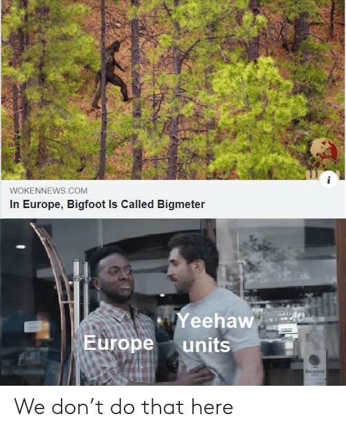 Bigfoot, Europe, and Com: WOKENNEWS.COM  In Europe, Bigfoot Is Called Bigmeter  Yeehaw  Europe  units We don't do that here