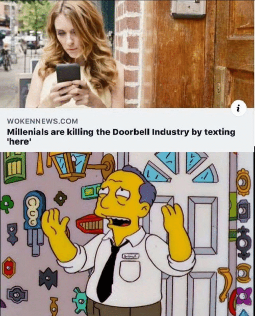 Doorbell: WOKENNEWS.COM  Millenials are killing the Doorbell Industry by texting  'here'  A
