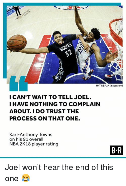 Karling: WOLVES  H/TNBA2K (Instagram)  I CAN'T WAIT TO TELL JOEL.  I HAVE NOTHING TO COMPLAIN  ABOUT. I DO TRUST THE  PROCESS ON THAT ONE.  Karl-Anthony Towns  on his 91 overall  NBA 2K18 player rating  B R Joel won't hear the end of this one 😂