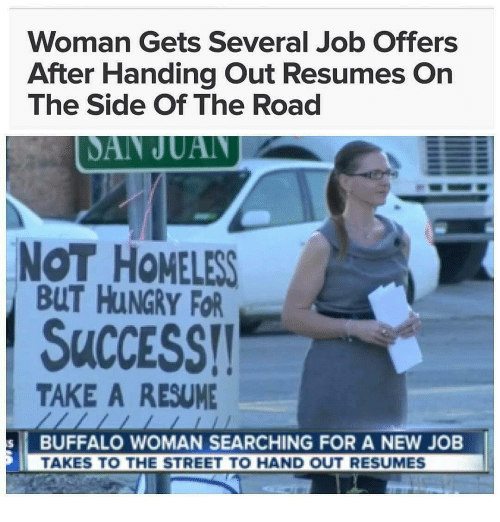 Woman Gets Several Job Offers After Handing Out Resumes On The Side