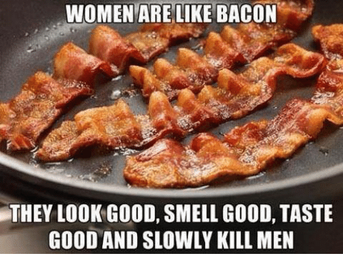 Dank, 🤖, and Men: WOMEN ARE LIKE BACON  THEY LOOK GOOD, SMELL GOOD, TASTE  GOOD AND SLOWLY KILL MEN