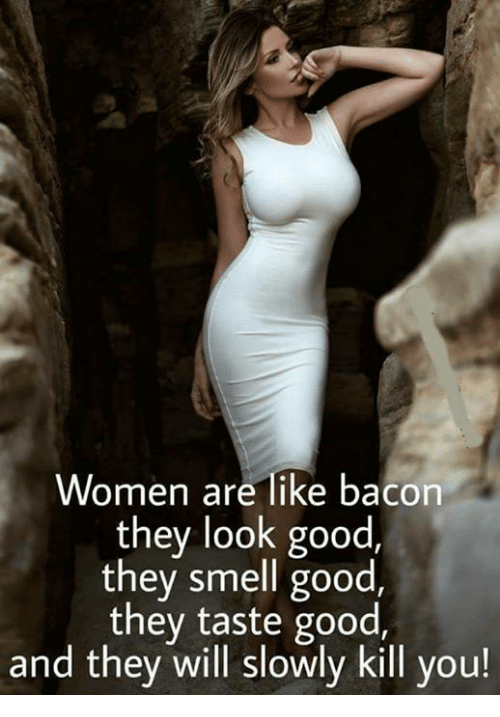 Women Are Like Bacon: Women are like bacon  they look good,  they smell good  they taste good,  and they will slowly kill you!