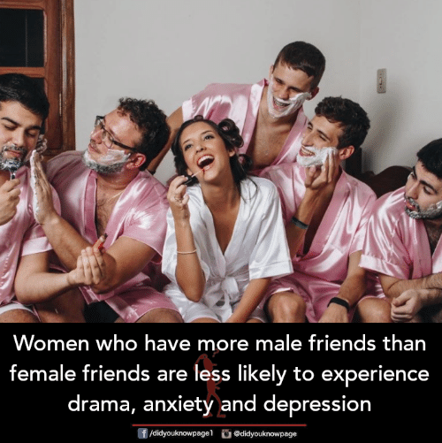 male friends: Women who have more male friends than  female friends are less likely to experience  drama, anxiety and depression  f/didyouknowpagel didyouknowpage