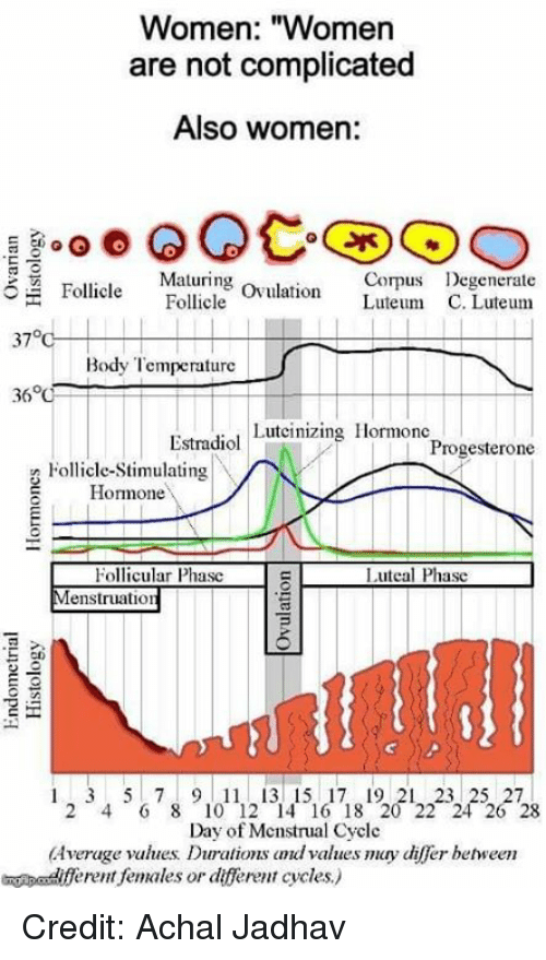 "Memes, Women, and 🤖: Women: ""Women  are not complicated  Also women:  Maturing ovulation Luteum C  Corps Degenerate  Follicle Follcle  37°  Body Temperature  Estradiol Luteinizing Hormonc  Progesterone  Follicle-Stimulating  Homone  Follicular Phasc  enstruation  Luteal Phasc  cn  1 2 3 4 5  7 8 9 1011121314151617181201222  26  Day of Mcnstrual Cycle  Average values Durations dvalues may differ behween  eent females or dfferent cycles) Credit: Achal Jadhav"