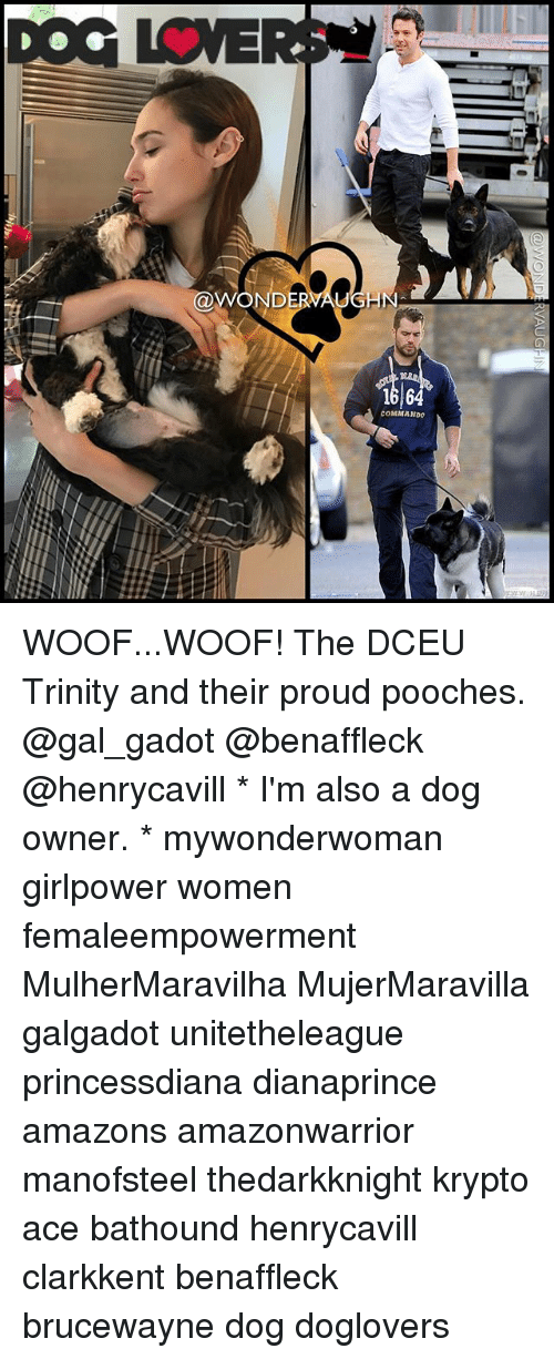 Memes, Women, and Proud: WONDE WOOF...WOOF! The DCEU Trinity and their proud pooches. @gal_gadot @benaffleck @henrycavill * I'm also a dog owner. * mywonderwoman girlpower women femaleempowerment MulherMaravilha MujerMaravilla galgadot unitetheleague princessdiana dianaprince amazons amazonwarrior manofsteel thedarkknight krypto ace bathound henrycavill clarkkent benaffleck brucewayne dog doglovers