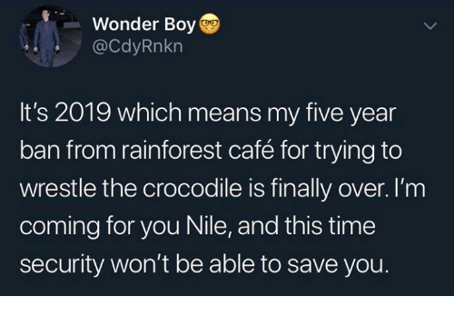 Dank, Time, and Wonder: Wonder Boy  @CdyRnkn  It's 2019 which means my five year  ban from rainforest café for trying to  wrestle the crocodile is finally over. I'm  coming for you Nile, and this time  security won't be able to save you.