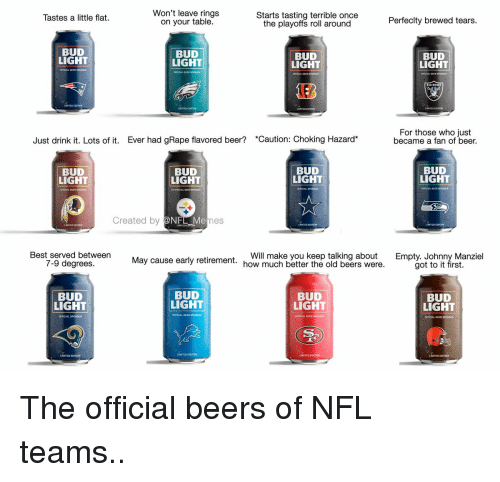 Taste A: Won't leave rings  Starts tasting terrible once  Tastes a little flat.  Perfeclty brewed tears.  on your table.  the playoffs roll around  BUD  BUD  BUD  BUD  LIGHT  LIGHT  LIGHT  LIGHT  For those who just  Just drink it. Lots of it. Ever had gRape flavored beer? *Caution: Choking Hazard  became a fan of beer.  BUD  BUD  BUD  BUD  LIGHT  LIGHT  LIGHT  LIGHT  Created by 2  Best served between  Will make you keep talking about  Empty. Johnny Manziel  7-9 degrees.  May cause early retirement.  how much better the old beers were.  got to it first.  BUD  BUD  BUD  BUD  LIGHT  LIGHT  LIGHT  LIGHT  LIMITED EDITION  LAMITED EDITON The official beers of NFL teams..