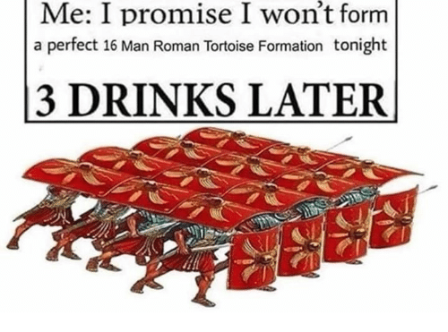 3 Drinks Later: won't  Me: I promise I form  a perfect 16 Man Roman Tortoise Formation tonight  3 DRINKS LATER