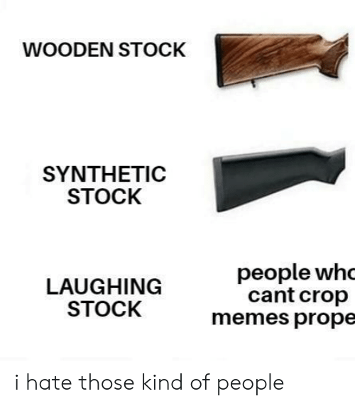 Memes, Crop, and Laughing: WOODEN STOCK  SYNTHEΤIC  STOCK  people whc  cant crop  memes prope  LAUGHING  STOCK i hate those kind of people