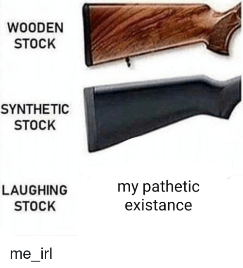 Existance: WOODEN  STOCK  SYNTHETIC  STOCK  LAUGHING  STOCK  my pathetic  existance me_irl