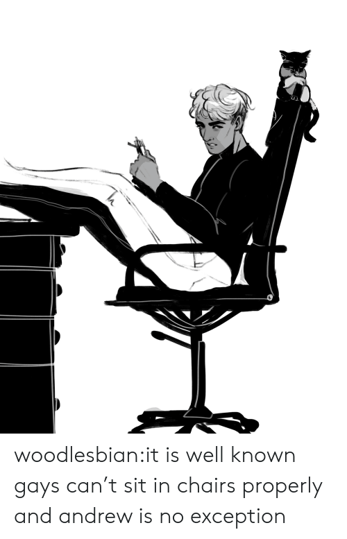 Target, Tumblr, and Blog: woodlesbian:it is well known gays can't sit in chairs properly and andrew is no exception
