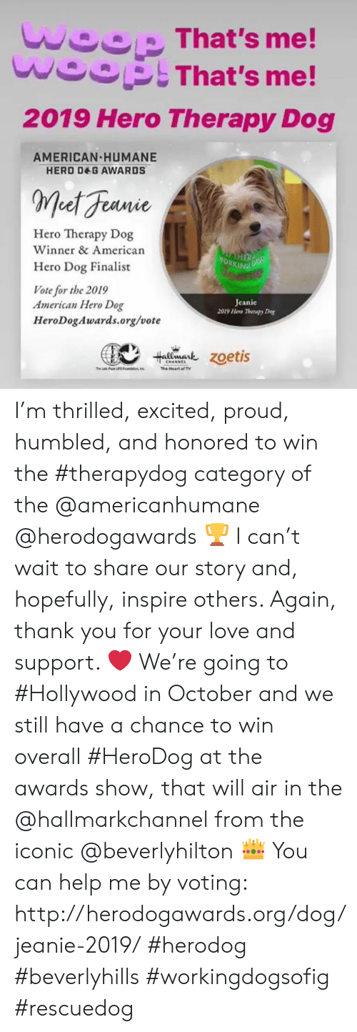 Hallmarkchannel: woop That's me!  woOpThat's me!  2019 Hero Therapy Dog  AMERICAN HUMANE  HERO DEG AWARDS  Met Feanie  Hero Therapy Dog  Winner & American  WORKING POG  Hero Dog Finalist  Vote for the 2019  American Hero Dog  HeroDogAwards.org/vote  Jeanie  2019 Hero Therapy De  talmark Zoetis  CHANNEL  he L P  The Heart of TV  U n I'm thrilled, excited, proud, humbled, and honored to win the #therapydog category of the @americanhumane @herodogawards 🏆 I can't wait to share our story and, hopefully, inspire others. Again, thank you for your love and support. ❤️ We're going to #Hollywood in October and we still have a chance to win overall #HeroDog at the awards show, that will air in the @hallmarkchannel from the iconic @beverlyhilton 👑 You can help me by voting: http://herodogawards.org/dog/jeanie-2019/ #herodog #beverlyhills #workingdogsofig #rescuedog