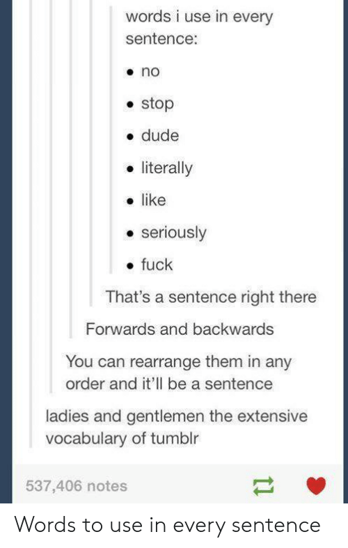 Dude, Tumblr, and Fuck: words i use in every  sentence:  stop  e dude  literally  like  e seriously  . fuck  That's a sentence right there  Forwards and backwards  You can rearrange them in any  order and it'll be a sentence  ladies and gentlemen the extensive  vocabulary of tumblr  537,406 notes Words to use in every sentence
