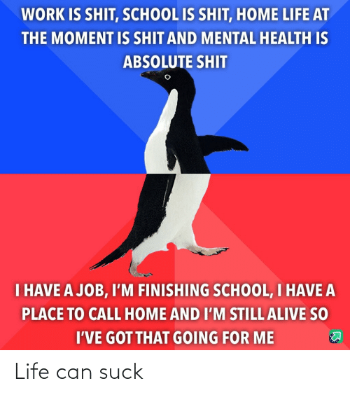 Im Still: WORK IS SHIT, SCHOOL IS SHIT, HOME LIFE AT  THE MOMENT IS SHIT AND MENTAL HEALTH IS  ABSOLUTE SHIT  I HAVE A JOB, I'M FINISHING SCHOOL, I HAVE A  PLACE TO CALL HOME AND I'M STILL ALIVE SO  I'VE GOT THAT GOING FOR ME Life can suck