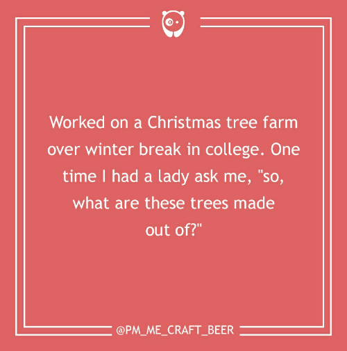 "Beer, Christmas, and College: Worked on a Christmas tree farm  over winter break in college. One  time I had a lady ask me, ""so,  what are these trees made  out of?""  @PM_ME_CRAFT_BEER"