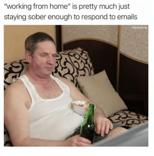 "Dank, Home, and Sober: ""working from home"" is pretty much just  staying sober enough to respond to emails  drgrayfang"