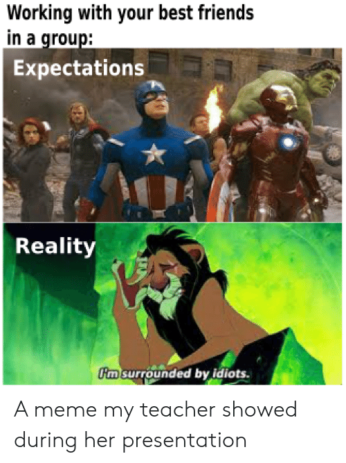 Friends, Meme, and Teacher: Working with your best friends  in a group:  Expectations  Reality  m surrounded by idiots. A meme my teacher showed during her presentation