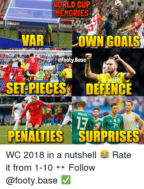 Memes, World Cup, and World: WORLD CUP  MEMORIES  VARL  OWNGOALS  @Footy.Base  STEWAFD  SET PIECES DEFENCE  MULLER  13  PENALTIES SURPRISES WC 2018 in a nutshell 😂 Rate it from 1-10 👀 Follow @footy.base ✅