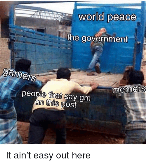 World, Dank Memes, and Government: world peace  bearboo  the government  gamers  -memers  people tnet say gm  on this ipost It ain't easy out here